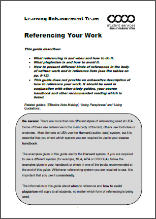 Referencing your work